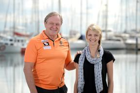 Kevin Sheedy Meets Jessica Watson At Sandringham Yacht Club