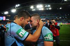 NSW's Jarryd Hayne and NSW's Robbie Farah in tears after winning Game 2 of the 2014 State of Origin