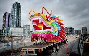 Dragon Head At Docklands Ahead Of Chinese New Year Celebrations